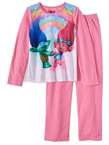 AME Girls Trolls 2 Pc Long Sleeve Brushed Jersey Pajamas (6/6X)