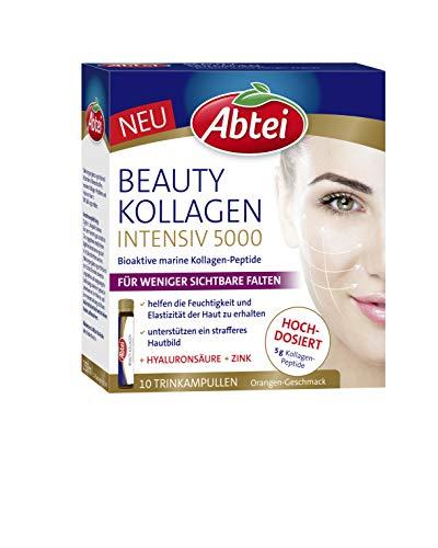 Abtei Beauty Kollagen Intensiv 5000 - Schönheit zum Trinken - hochdosiert - mit 5 g Kollagen-Peptiden, Hyaluronsäure, Zink, Vitamin C - 10 Trinkampullen