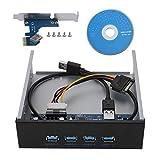 ASHATA 5,25 Pulgadas 4 Puertos USB 3.0 Panel Frontal CD ROM Controlador Hub PCI-E a 4 Interfaces USB3.0 Metal Panel Frontal