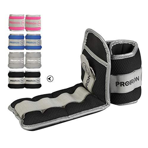 PROIRON Lastres Tobillos Pesas para Piernas Tobilleras 2kg×2 (Negro)con Peso con Diseño Reflectante y Correa Ajustable Pesas Tobillos Pesas para Tobillos