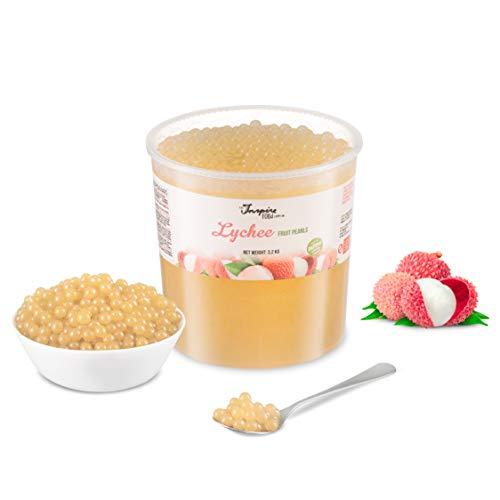 ORIGINAL POPPING BOBA für Bubble tea, Litschi, 3.2kg Eimer, Ohne künstliche Farbstoffen, echten Fruchtsäfte, weniger Zucker, 100% VEGAN und GLUTENFREI