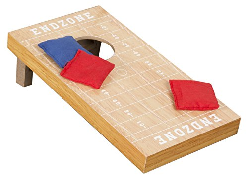 Hey! Play! Tabletop Cornhole – Classic Mini Travel Wood Beanbag Toss Skill Board Game with Football Field Design for Kids and Adults (Single Board)