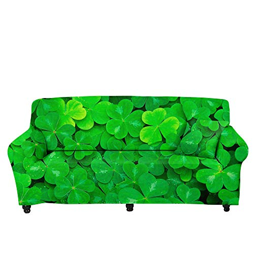 HXTSWGS Funda de sofá de Alta Elasticidad,Funda de sofá con Estampado de Hojas caídas en 3D, Toalla de sofá de trébol, Funda de sofá de Sala de Estar con Todo Incluido-Color4_190-230cm