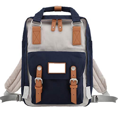 "Himawari School Functional Travel Waterproof Backpack Bag for Men & Women | 14.9""x11.1""x5.9"" | Holds 13-in Laptop (Beige & Dark blue)"