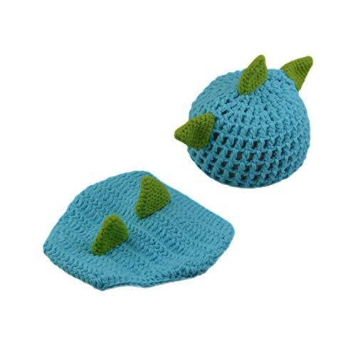 Soapow Conjunto de sombreros y pantalones de dinosaurio para bebé recién nacido fotografía accesorios para niños pequeños