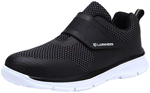 Zapatillas de Seguridad Hombre,LM180121 SBP Zapatos de Trabajo Mujer con Punta de Acero Ultra Liviano Reflectivo Transpirable 42 EU,Blanco Negro