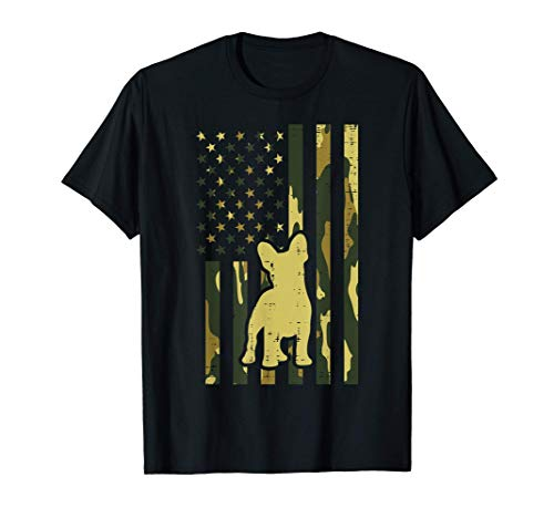 Camo US Flag French Bulldog Frenchie Patriot Dog Lover Gift T-Shirt