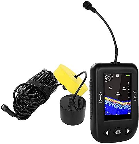 WSVULLD SONAR FISH FINDER, Detector de profundidad de pescado de mano con pantalla LCD Finder de pesca de 0.4m-100m, sensor de sonar de pesca portátil para detección de peces Pesca de hielo Pesca de h