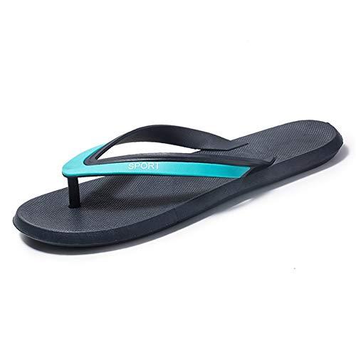 ZHANGNING Zapatillas exteriores para hombre, sandalias y zapatillas de ducha, zapatos de playa, color cuero, suela de goma, antideslizantes, zapatillas de baño (color: negro y azul, tamaño: 44 EU)