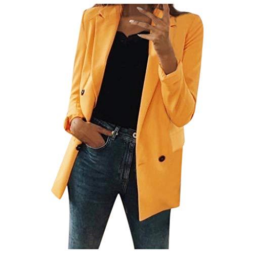BBring Damen Lange Jacke, Oberschenkellänge Revers Zweireiher Strickjacke Pattentasche Knopfleiste Slim Fit Mantel Trenchcoat 3/4 Ärmel Herbst Bluse Winter Sweatshirt (M, Gelb)
