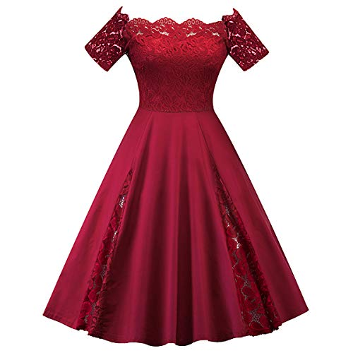 Women's Vintage Floral Lace Off Shoulder Boat Neck Cocktail Wedding Formal Evening Party Swing Dress 1950s Retro Short Sleeve A-Line Bridesmaid Prom Dance Gown Midi Club Skater Dress Burgundy 3XL
