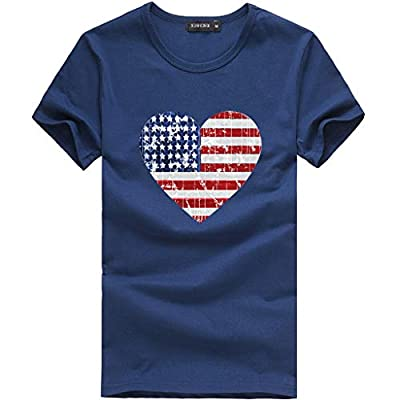 Leewos Hot Sale! 2019 Fashion!Women Independence Day Party T-Shirt Fashion American Flag Heart Shape Printed Tops Dark Blue by Leewos Hot Sale!
