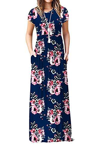 Damen Sommerkleider Kurzarm Lose Blumen Maxikleider Casual Lange Kleider mit Taschen, Marine, XL