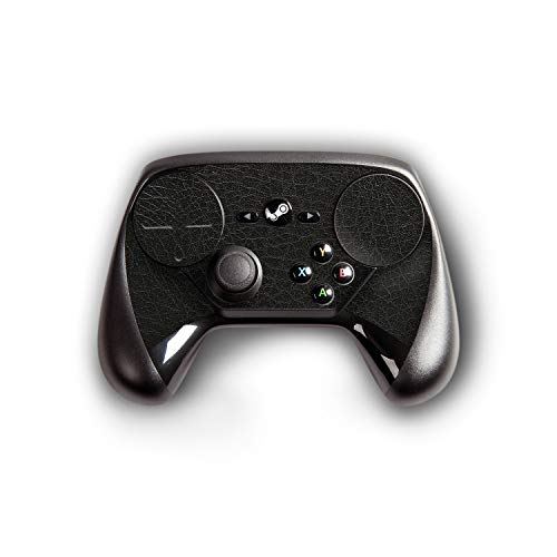 atFoliX Skin kompatibel mit Steam Controller, Designfolie Sticker (FX-Leather-Black), Feine Leder-Struktur