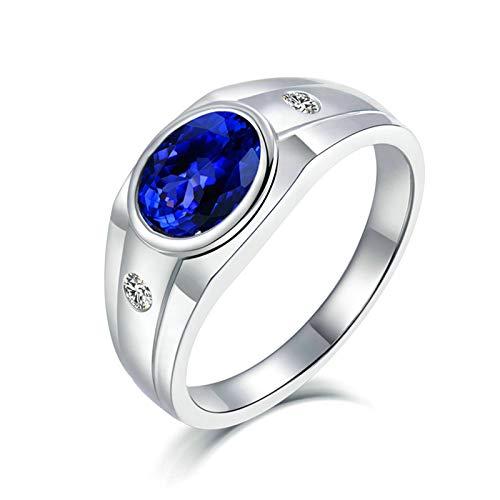 Daesar Anillos de Oro Blanco 18K Hombre,Oval Tanzanita Azul 2ct Diamante 0.1ct,Plata Azul Talla 27