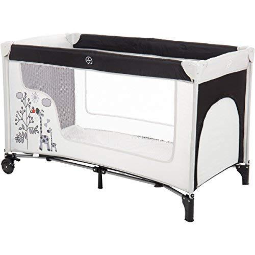 Reisebett/Babyreisebett GIRAFFE mit Rollen und Schlupfloch (Inklusive Matratze & Transporttasche) 120 x 60 cm von 0 – 5 Jahren