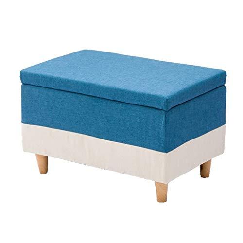 Yxsd Reposapiés en madera maciza taburete tapizado Puf práctico cubo versátil carga máxima 300 kg sala de estar