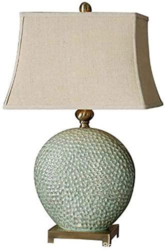 Rnwen Lámpara de Mesa de cerámica Verde lámpara de Mesa de Villa Sala de Estar Dormitorio decoración de Noche lámpara de Mesa Retro 45 * 69 cm