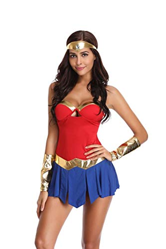 KHDFYER Catsuit Wetlook Deluxe Adult Wonder Woman Kostüm Sexy Super Hero Kostüm Halloween Kostüme Für Frauen-B_One_Size