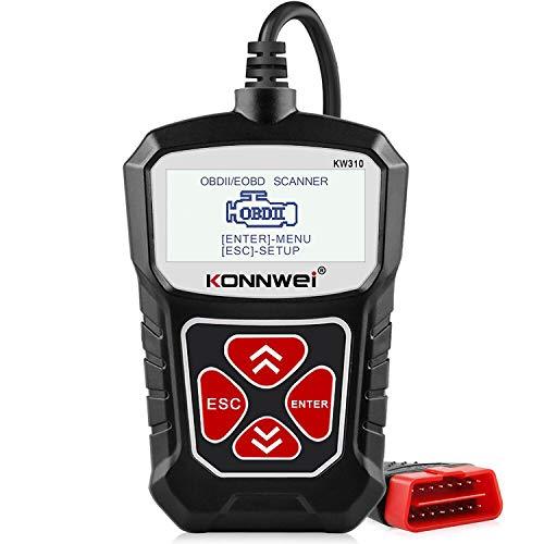 KW310 OBD2-Scanner Vollständige OBDII-Funktionen 10 Modi Scan-Tool für Fehlercode-Lesegeräte für Kraftfahrzeugmotoren für alle 1996er und neueren Fahrzeuge Schwarz