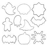Schnuger Molde De Galletas De Halloween Acero Inoxidable DIY Craft Fondante Fondante Kit De Moldo 10pcs