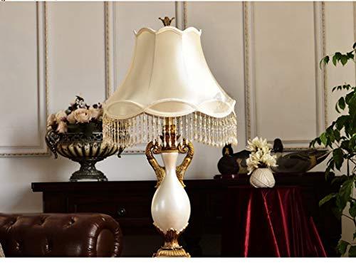MW-Light Lampe de Chevet Classique en M/étal couleur Bronze Antique Abat-jour en Tissu Blanc D/écor Cristal pour Chambre Salon Lampe de Table Haut.45cm 1 amp.x40W E14