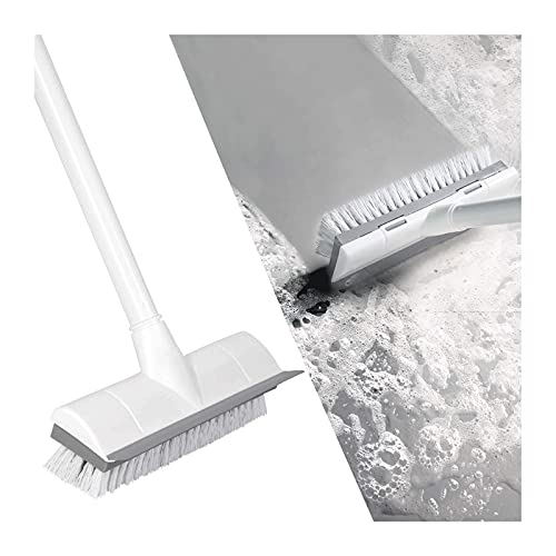 ZXYY Cepillo para Fregar Pisos con Cepillo Suave Rígido de Mango Largo, 2 en 1 Raspa y Cepilla,Cepillo para Bañera y Azulejos para Limpiar El Baño