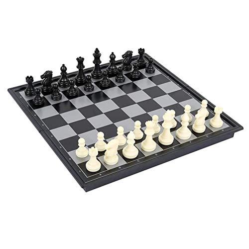 Juego de ajedrez magnético de viaje 3 en 1, juego de ajedrez de damas / borrador plegable portátil Juego de ajedrez tradicional con tablero de almacenamiento portátil plegable para niños y adultos