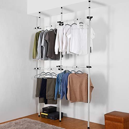 Direct Online Houseware Double Telescopic Wardrobe Organiser Hanging Rail Clothes Rack Adjustable Storage Shelving