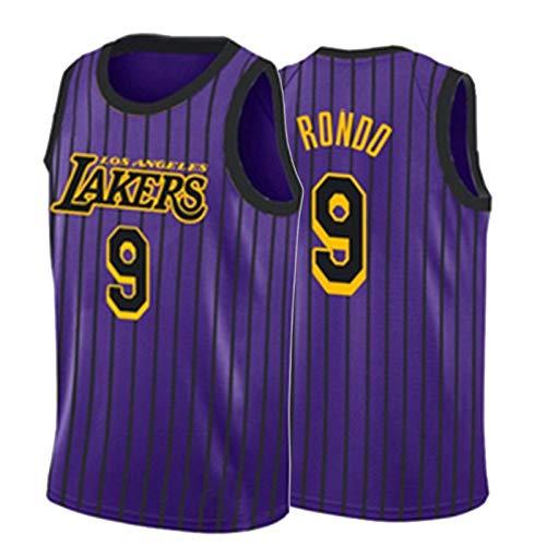 HRTE Basketball Jersey Laker # 9 Rondo, Hombre Absorbente para Hombre y Transpirable, Ropa Deportiva, Chaleco Deportivo al Aire Libre Vacaciones Purple~2-L