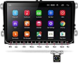 Android Radio de Coche para Seat Passat Golf Skoda,9'' WiFi Reproductor de Coche de Doble DIN Compatible con Bluetooth GPS Mirror Link Radio FM,con Doble USB + Cámara de Visión Trasera LED,1+ 16G
