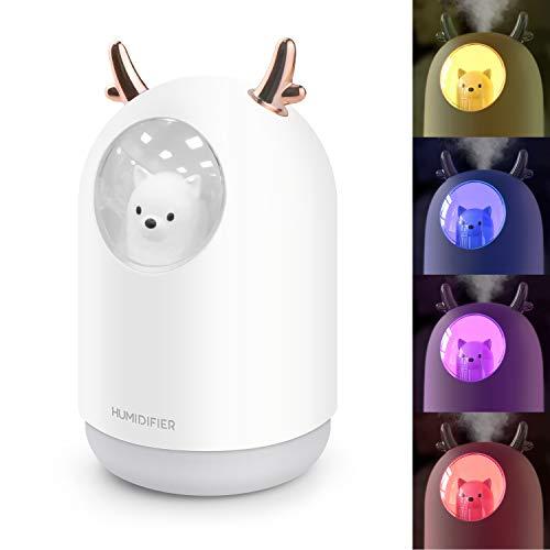 PTN 300ML Mini Humidificadores Ultrasónicos con Fuente de Alimentación USB, Humidificador Silencioso con Luces LED, Apagado Automático Sin Agua del Humidificador de Escritorio para el Hogar/Oficina