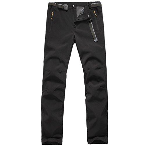 emansmoer Homme Outdoor Softshell Doublé Polaire Élastique Pantalon Imperméable Sport Pantalons de randonnée Camping (XX-Large, Noir)