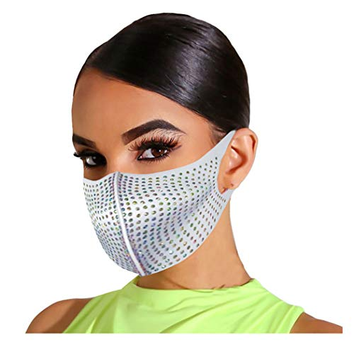 Barode Rhinestones Mask Crystal Black Masquerade Clubwear Face Masks Jewelry for Women and Girl (White)