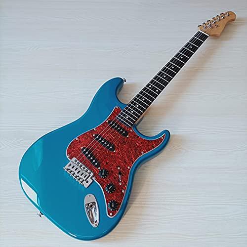 KEPOHK Full Basswood Body St Guitarra eléctrica 39 pulgadas 6 cuerdas Azul acabado de alto brillo 39 pulgadas Model33-A