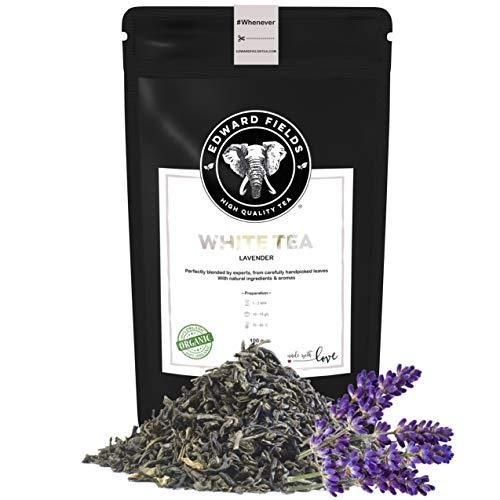 Edward Fields Tea ® - Té blanco orgánico a granel con Lavanda. Té bio recolectado a mano con ingredientes y aromas naturales, 100 gramos, China