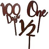 regalo 木製 ケーキトッパー3本セット 誕生日 1歳 ハーフバースデー 6ヶ月 100日祝い ピック (3本セット・ダーク)