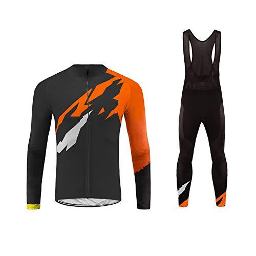 Uglyfrog Radtrikot Herren Set Winter Fleece Warm Schnell Trocken Langarm-Radfahren Jersey mit Hose für Mountain Biking und Outdoor