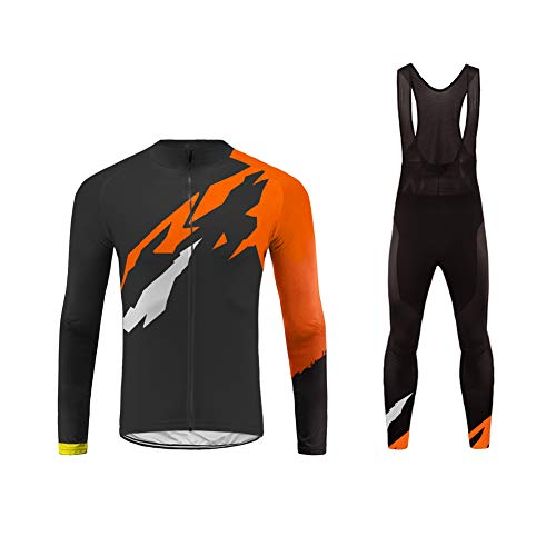 Uglyfrog Bike Wear Completo Maglia Ciclismo Manica Lunga da Uomo Abbigliamento Ciclismo Invernale + Long Bib Pantaloni Triathlon Body
