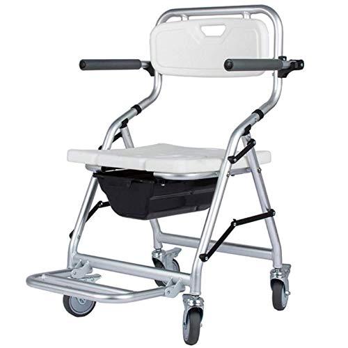 Z-SEAT Asiento de Inodoro Plegable para Inodoro - Silla de Transporte para Ducha portátil con Pedal de Ruedas para Personas Mayores, discapacitadas, Pacientes, Embarazadas