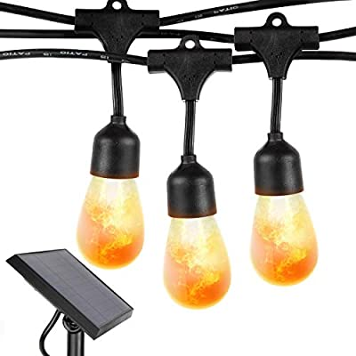 Brightech Ambience Pro with Flaming Bulbs Hanging Edition - Outdoor LED Solar String Lights - 27 Ft Commercial Grade Waterproof Patio Lights Create Cafe Ambience On Your Porch, Deck