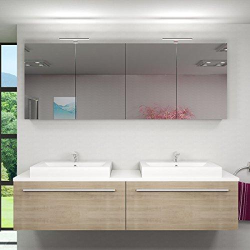 Badmöbel Set City 200 V1 Eiche hell, Badezimmermöbel, Waschtisch 200cm, Beleuchtung Spiegelschrank:mit 2 x 5W LED-Strahler +50.-EUR