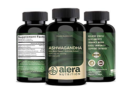 Organic Ashwagandha 1500 mg 120 Capsules with Artichoke & Black Pepper Extract for Absorption - Best Natural Anti Anxiety, Stress Relief, Mood Support Supplement - by ALERA Nutrition