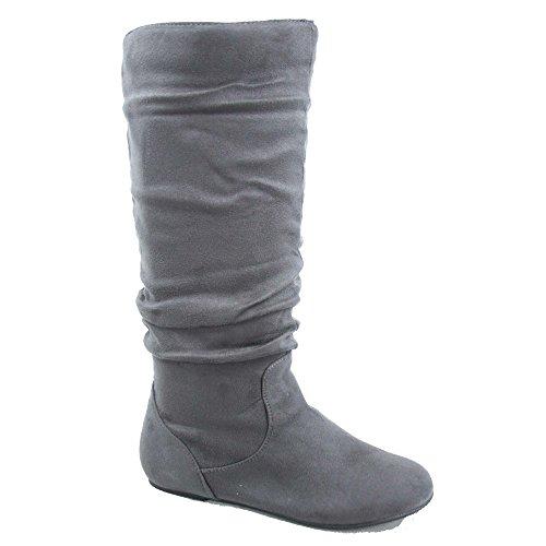 TOP Moda Data-1 Women's Shoes Cute & Comfort Round Toe Flat Heel Slouchy Mid Calf Boot (7.5, Grey)