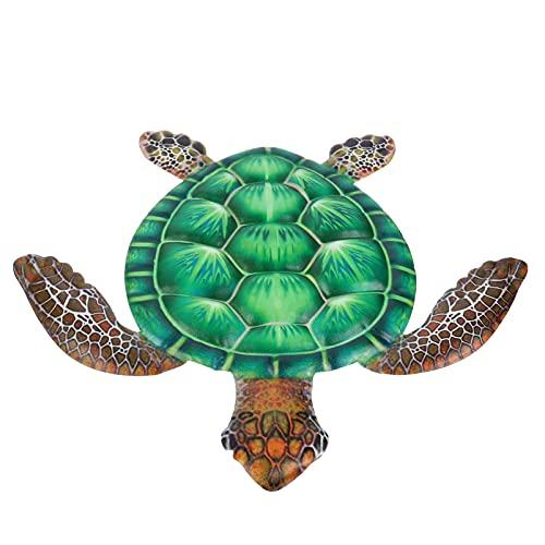 Angoily Decoración de Pared de Tortuga de Mar de Metal Pared de Tortuga de Hierro Suspensión de Placa Escultura Colgante Costero Ornamento para Patio Porche Piscina Bote Playa Baño