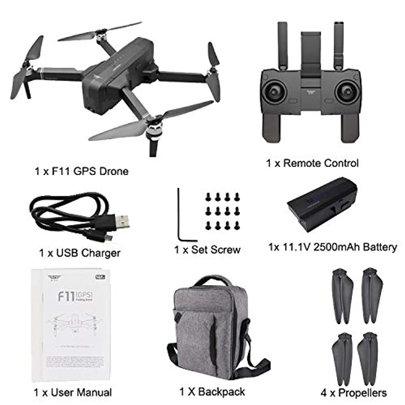 SMOXX SJRC F11 GPS 5G WiFi FPV 1080P HD Camera Foldable Brushless RC Drone + Backpack, Silent, Compact & Speed Control, Autonomous, Real-time Transmission