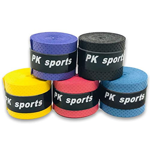 グリップテープ 5個セット (5色セット・黒・赤・青・紫・黄・など各色セットあり) ドライ多孔 オーバーグリップ テニス バドミントン 他 (5色ミックス)