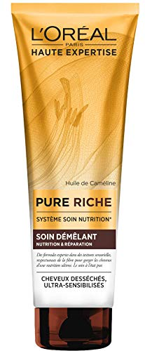 L'Oréal Paris Pure Riche Soin démêlant Sans Sulfate à l'Huile de Caméline - Nutrition & Réparation - Cheveux Desséchés - 250 ml