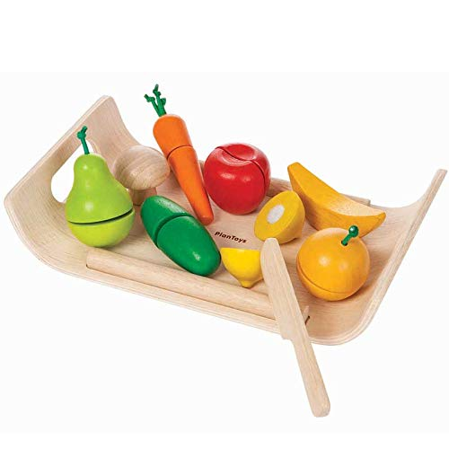 PlanToys Wooden Assorted Fruit and Vegetable Pretend Play Food and Kitchen Set (3416) | Sustainably Made from...