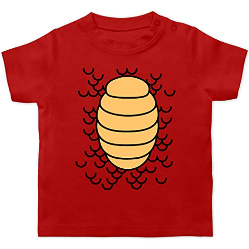 Karneval und Fasching Baby - Drachen Karneval Kostüm - 1/3 Monate - Rot - Statement - BZ02 - Baby T-Shirt Kurzarm